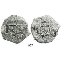 Potosi, Bolivia, cob 8 reales, 1713Y, rare with full 4-digit date below cross.