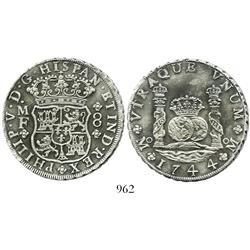 Mexico City, Mexico, pillar 8 reales, Philip V, 1744MF.
