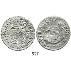 Mexico City, Mexico, pillar 2 reales, Ferdinand VI, 1757M, both crowns royal, scarce from this wreck