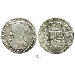 Mexico City, Mexico, bust 4 reales, Charles III, 1776FM, rare denomination from this wreck.