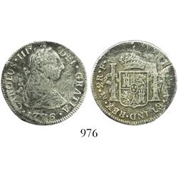 Mexico City, Mexico, bust 2 reales, Charles III, 1776FM.