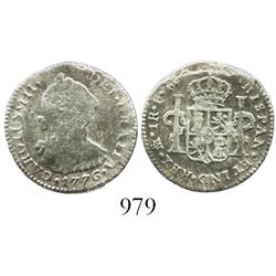 Mexico City, Mexico, bust 1 real, Charles III, 1776FM.
