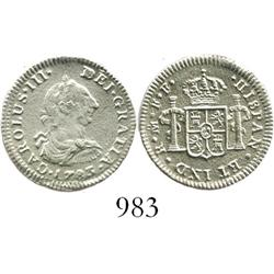 Mexico City, Mexico, bust 1/2 real, Charles III, 1783FF.