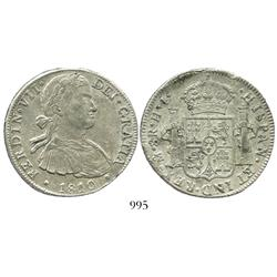 """Mexico City, Mexico, bust 8 reales, Ferdinand VII (""""armored"""" bust), 1810HJ."""