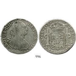 Lima, Peru, bust 8 reales, Charles IV, 1804JP.
