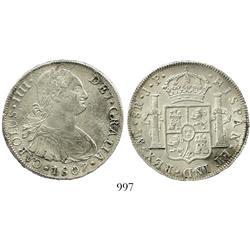 Lima, Peru, bust 8 reales, Charles IV, 1807JP.