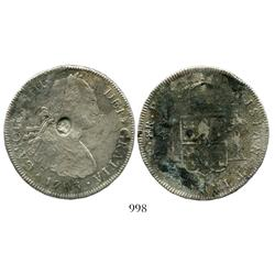 Potosi, Bolivia, bust 8 reales, Charles IV, 1793PR, with English countermark of George III on bust (