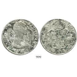 Seville, Spain, bust 8 reales, Charles III, 1774CF.