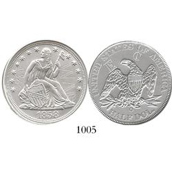 Official silver replica of a USA (New Orleans mint), seated Liberty 50c, 1858-O, hand-inscribed with