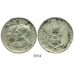 Philippines, peso, 1936, Roosevelt and Quezon.