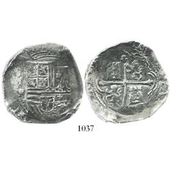Mexico City, Mexico, cob 8 reales, Philip II, assayer F, with IIISPANIARVM error in legend.
