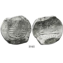 Mexico City, Mexico, cob 8 reales, Philip IV, assayer not visible (D, 1621-34), unique variety with