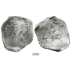 Mexico City, Mexico, cob 8 reales, 1661/0P, very rare overdate.