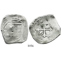 Mexico City, Mexico, cob 8 reales, (1)667G, rare, with chopmarks.
