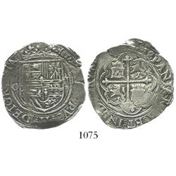 Mexico City, Mexico, cob 4 reales, Philip II, assayer O to left.