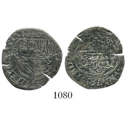 Mexico City, Mexico, cob 1 real, Philip II, assayer O to right, oM to left.