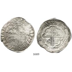 Lima, Peru, cob 8 reales, Philip II, assayer Diego de la Torre, *-8 to left, P-oD to right.