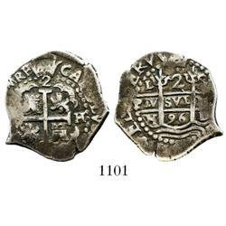 Lima, Peru, cob 2 reales, 1696H.