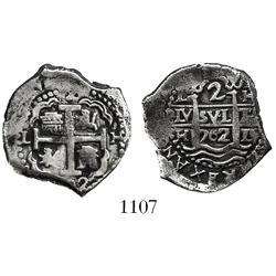 Lima, Peru, cob 2 reales, 1702H.