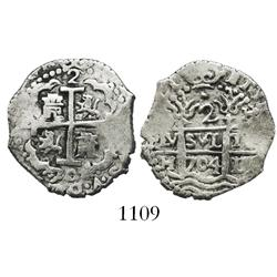 Lima, Peru, cob 2 reales, 1704H.