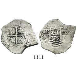 Lima, Peru, cob 2 reales, 1705H.