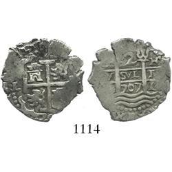 Lima, Peru, cob 2 reales, 1707H.