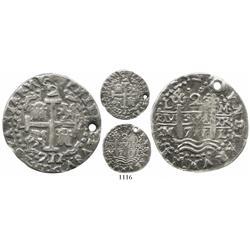 Lima, Peru, cob 2 reales Royal, 1711M, rare.
