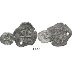 Lot of 2 Lima, Peru, cobs of Philip V: 2R, 1720M, holed; and 1/2R 1700.