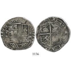 Potosi, Bolivia, cob 8 reales, Philip II, P-B (3rd period).