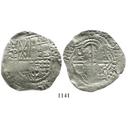 Potosi, Bolivia, cob 8 reales, 161(8-9)T, upper half of shield and quadrants of cross transposed.