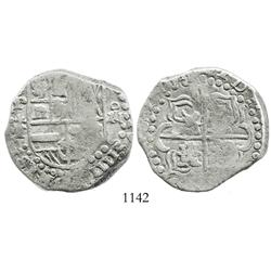 Potosi, Bolivia, cob 8 reales, (1)6ZIII (1623), assayer T, quadrants of cross transposed, very rare.