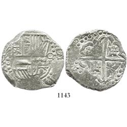 Potosi, Bolivia, cob 8 reales, 16299 (doubled final digit), assayer not visible, large dots in borde