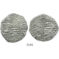 Potosi, Bolivia, cob 8 reales, Philip IV, assayer not visible (late 1620s).