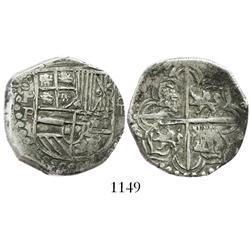 Potosi, Bolivia, cob 4 reales, Philip III, assayer R (curved leg).