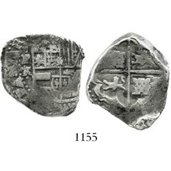 Potosi, Bolivia, cob 4 reales, Philip IV, assayer TR (late 1630s-early 1640s).