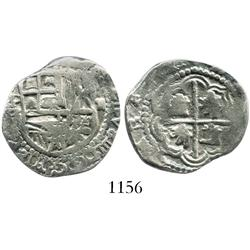 Potosi, Bolivia, cob 2 reales, Philip III, assayer R (curved leg), backwards S's in legend.