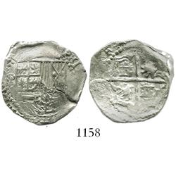 Potosi, Bolivia, cob 2 reales, Philip III, assayer not visible.