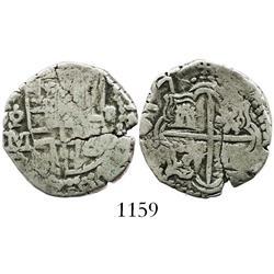 Potosi, Bolivia, cob 2 reales, 1617M, rare.