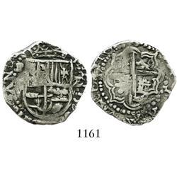 Potosi, Bolivia, cob 2 reales, 164(6)V, rare.