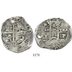 Potosi, Bolivia, cob 8 reales, 1658E.