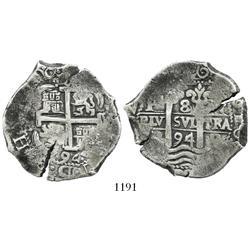 Potosi, Bolivia, cob 8 reales, 1694VR.