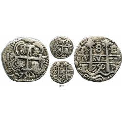 Potosi, Bolivia, cob 8 reales Royal, 1750E, rare.