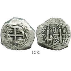 Potosi, Bolivia, cob 8 reales, 1762V-Y-V.