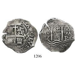 Potosi, Bolivia, cob 4 reales, 1683V.
