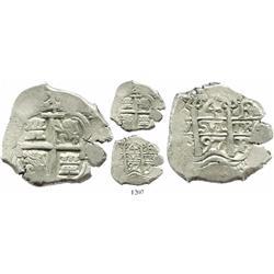 Potosi, Bolivia, cob 4 reales, 1697F/CH, unique.