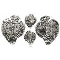 Potosi, Bolivia, cob 4 reales Heart, 1712Y, extremely rare.