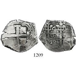 Potosí, Bolivia, cob 4 reales, 1726Y, Louis I, very rare.