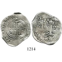 Potosi, Bolivia, cob 2 reales, 1652E post-transitional (transitional Type VII), 1-PH-(6 at top), rar