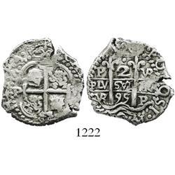 Potosi, Bolivia, cob 2 reales, 1695VR.
