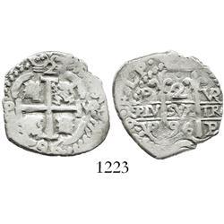 Potosi, Bolivia, cob 2 reales, 1696VR, struck on a 1R planchet.